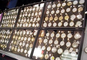 A display of pocket watches available at the National Association of Watch and Clock Collectors (NAWCC) Watch & Clock Regional Show .