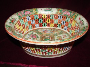 Circa 1850, rose medallion reticulated basket