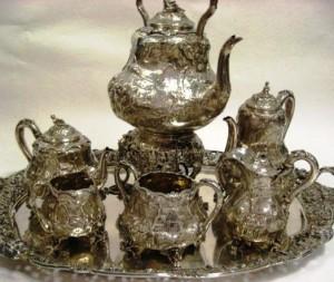 A seven-piece silver tea service in the Teniers pattern by Paul Storr.