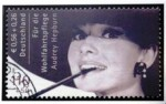 The rare German stamp portraying movie star Audrey Hepburn smoking. Only five copies of this stamp are known to exist.