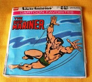 A three-reel pack with 21 pictures of View-Master Cartoon Favorites in 3D featuring The Sub-Mariner, made in 1978.