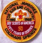 A patch from the 1960 National Boy Scout Jubilee Jamboree held in Colorado Springs, celebrating celebration of their 50th anniversary of the first national jamboree.