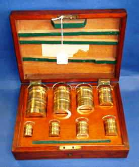 DeGrave Short and Co. apothecaries measures in their mahogany box.