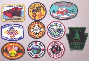 A group of Boy Scout patches from the late 1960s thru 1970s from the Mason Dixon Council. Most every boy who was a scout has a collection of patches like this, marking the events he attended while a scout.