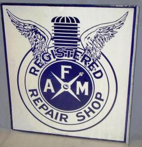 Rare AFM Register Repair Shop (for motorcycles) porcelain flange sign ($10,725).