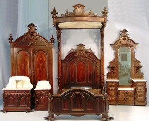 This five-piece rosewood Victorian bedroom suite, signed Mitchell & Rammelsberg, circa 1860 , was the top earner at the living estate sale of Katherine Creamer, a discerning collector from Mobile, Ala., selling for $51,700.