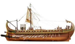 Scale model Ben-Hur boat, inspired by the movie from the 1960s, complete with motorized oars.