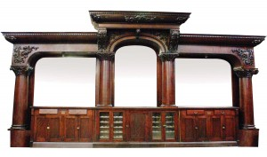 "Monumental Brunswick ""Del Monte"" front and back bar, with columns and mirrors (circa 1900)."