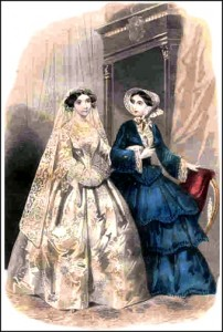 "1850s dress with flounces, wide sleeves, lace under-trim and full bonnet. ""Peterson's"" Magazine, 1851."
