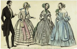 "1840s fashion with side ringlets, full bonnets, bare shoulders, tight forearm sleeves and long pointed bodices. ""Graham's Magazine,"" 1841"