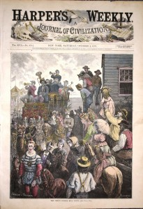 "Harper's Weekly,"" October 4, 1873 – ""The Circus Coming Into Town"" – Hand Colored engraving."