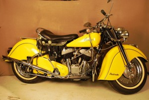 The top lot of the sale was this yellow 1948 Indian Chief Roadmaster motorcycle ($25,300).
