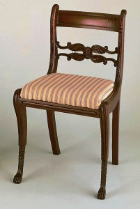 This classic Empire chair was made by Duncan Phyfe, circa 1820. (Daytona Museum of Arts and Sciences photo).