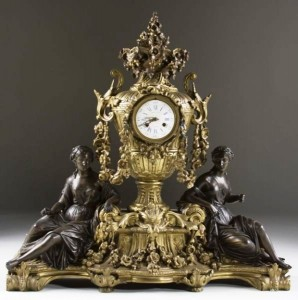Raingo Freres French figural mantle clock