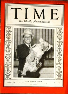 "Time"" Magazine, March 29, 1937 – Wild Animal Trainer Clyde Beatty."