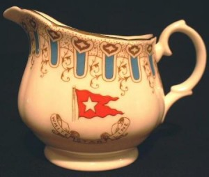 A cream in the patterns (Wisteria) used on White Star Line vessels, including the Titanic.