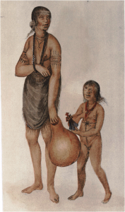 A drawing of a largely unclothed Indian girl with her new doll.