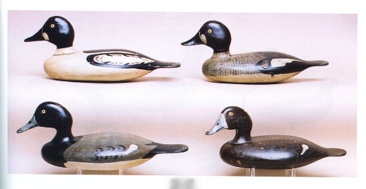 These four Stevens decoys, two goldeneye drakes, top, and a bluebill drake and hen, bottom, are in superb condition. They ranged in price from $7,500 to $10,250 at auction. Photo courtesy of Guyette and Schmidt.