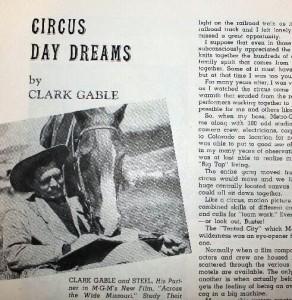 Clark Gable's story in a 1951 program.