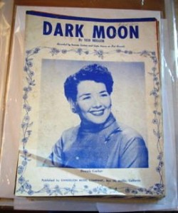 "Dark Moon"" original sheet music (1957) with Gale Storm on the cover."