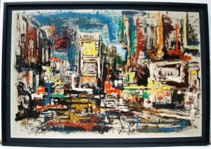 "This large Modernist oil of ""Times Square in New York City"" was painted by George Schwacha in 1960, which puts it right on the edge of the time frame where the prices for these kinds of contemporary pieces can tumble."