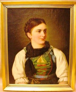 This portrait of a German woman in oil on canvas is in good condition regarding age, with some scratches on frame and one small restoration on canvas. It is dated 1897.