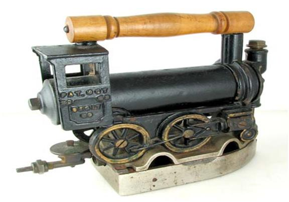 This locomotive-shaped iron, owned by a WorthPoint member who used WorthPoint's consignment service to place it in auction, may go for more than $10,000 next month. With almost pristine original paint and pin striping, it is apparent that it was hardly used, if ever.
