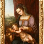This 19th-century painting on canvas of a mother and two children, is listed as having been cleaned and is in very good condition.