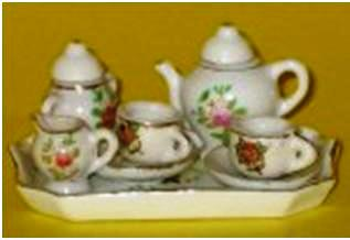 Toy tea-set just 1 ½ inches tall.