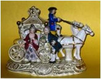 A beautiful example of a two-horse Cinderella coach, 7 ½ inches by 9 ½ inches.