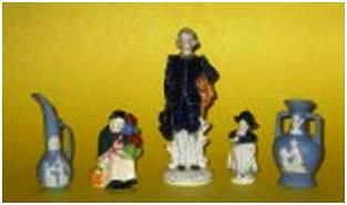 """Examples of the OJ figurines that copy other potter's designs. The Royal Doulton copy of the balloon lady is only 3 ½ inches tall, while the Wedgwood copies are 4 inches tall. The Delft-like girl is 3 ½ inches tall, and the boy, often called """"Blue Boy,"""" is 7 inches tall."""