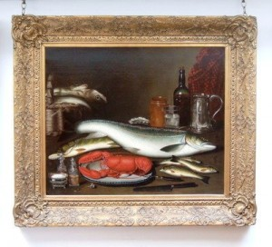"A Still Life of Fish and Lobster,"" by Alexander Dalziel (1781-1832), oil on canvas. The painting is signed and dated 1827."