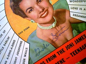 "An autographed copy of a cover photo of Gale Storm from the July 1957 edition of ""Song Hits"" Magazine."