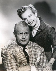 "An NBC press release photo of Gale Storm and Charles Farrell from ""My Little Margie."""