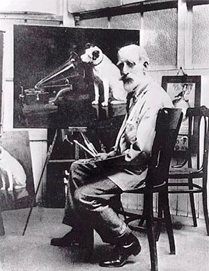 "Francis Barraud with one of 24 copied he made of his painting ""Dog Looking at and Listening to a Phonograph."""