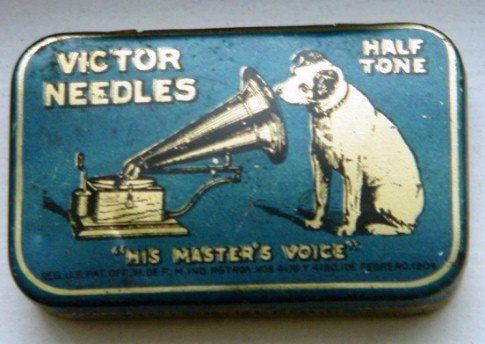 Nipper shows up on this needle tin from the Victor Talking Machine Company, 1904, for Victor Half Tone needles.