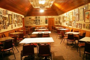 The spacious banquet hall inside Judy's D&G is just one of the many pluses awaiting a winning bidder for the building, while the contents dotting the walls will be sold individually