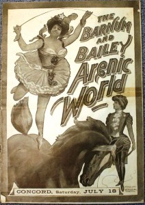 This 1903 Barnum & Bailey courier is titled Arenic World. It has 24 pages filled with illustrations and stories and is printed in all black and white. The value is $50 to $75.