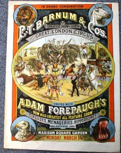 This is an extremely rare courier promoting a onetime only appearance of P.T. Barnum & Co.'s Greatest Show and the Great London Circus United with Adam Forepaugh's Circuses, Menageries and Hippodromes at Madison Square Garden in NYC. The 1887 courier had 16 pages with many color lithographed pages inside. Its estimated value would be in excess of $200.