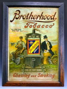 Many advertising signs, like this framed piece for Brotherhood Tobacco, dot the walls at Judy's D&G. All of this memorabilia will be auctioned off.