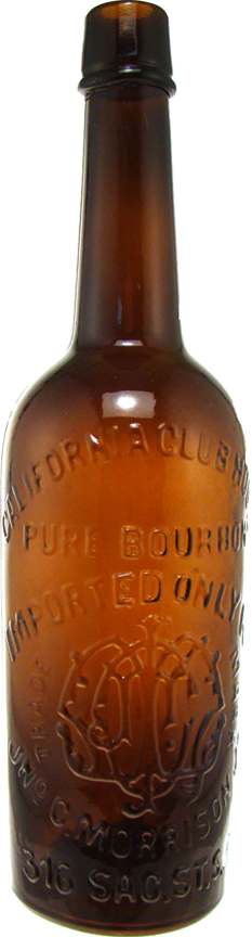 This California Clubhouse whiskey bottle, made circa 1872-74 and only one of nine known examples, sold for $30,240 at an Internet auction hosted by the American Bottle Auction.