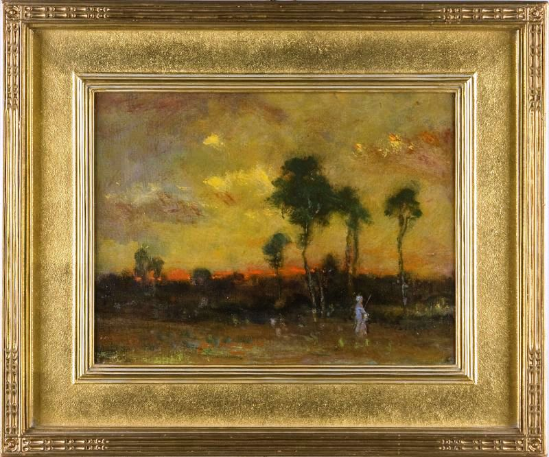 Original oil on canvas rendering of a sunset by American painter Elliott Dangerfield (estimated to sell for between $15,000 and $25,000, at a Carolina estates sale hosted by Leland Little Auctions.