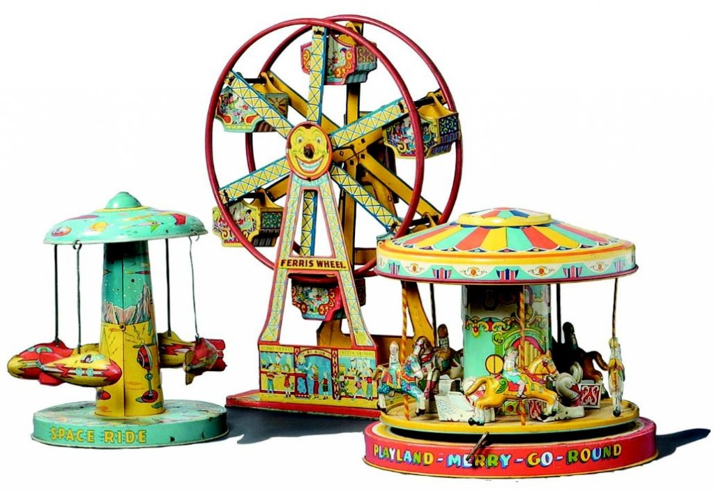 Bidder interest will be keen for the group of Chein toys--a 17-inch Hercules Ferris Wheel (circa 1950s), a Playland Merry-Go-Round carousel with children seated atop horses and swan coaches, and a very rare Aeroplane Whirler Space Ride (circa 1960s)--at a single-owener auction hosted by Clarity Sells Auction Gallery on Aug. 15, 2009