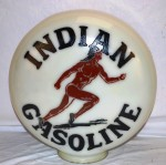 Indian Gasoline milk glass globe with Running Indian logo.