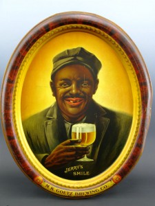 One of two Jerry Smiles antique framed tin signs from the Goetz Brewing Company of St. Joseph, Mo., that will be sold.