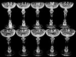 A rare set of ten 7-1/2-inch Libbey rock crystal tall saucer champagne glasses, in the Cathay pattern, will be up for bid at the ABCG auction in St. Charles, Mo.