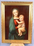Original 19th-century oil on canvas painting of Madonna and Child with original gold frame.