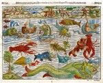 This fanciful cartographic curiosity made in 1598 by Sebastian Munster, with sea monsters, will be up for auction.