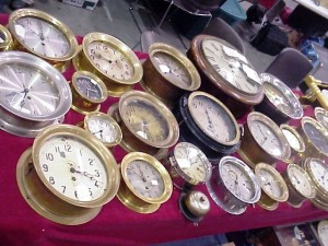 A collection of clocks on sale at the National Watch & Clock Collectors Association's annual show in Grand Rapids, Mich.