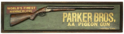 This Parker Brothers AA Pigeon Gun sign brought in an auction-record $7,543.